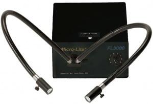 "Micro-Lite® 150w Halogen Light Source with Dual Gooseneck Fiber Optic Light Guide - .565"" ID Bore"