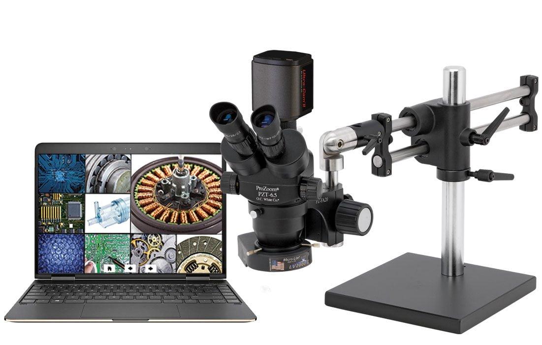 ProZoom® 6.5 Trinocular Microscope with 5MP Hybrid HDMI/USB Digital Camera - Ball Bearing Base - TKDPZT-LV2