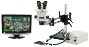 "Meiji Stereo-Zoom Trinocular Zoom Microscope - 19"" Widescreen LCD - 1/3"" Analog Camera - Ball Bearing Base"
