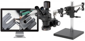"ProZoom® 6.5 5MP Hybrid HDMI/USB with 22"" LCD Trinocular Microscope - Ball Bearing Base"