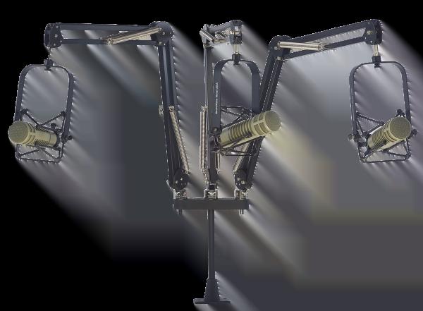 "ProBoom™ Deluxe Triple Mic Arm with Riser - 29"" Reach - 12"" Triple Mic Riser"