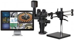 "Ergo-Zoom® 5MP Hybrid HDMI/USB3 Digital Trinocular with 22"" LED Screen on Ball Bearing Base - ESD Safe"
