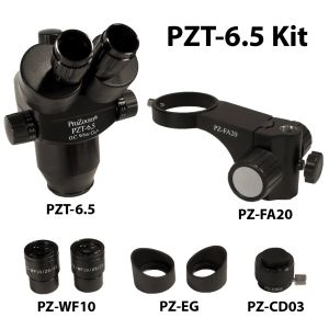 ProZoom® 6.5 Trinocular Kit; PZT-6.5 pod; 10x (28mm) Eyepieces with Eyeguards; .3x CCD Adapter; 20mm Focusing Arm