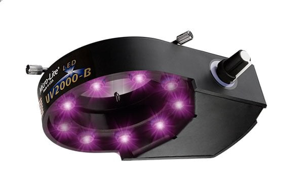 Micro-Lite® High Intensity Black Ultraviolet LED Ring Illuminator with 9 Extreme Output LEDs