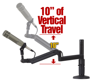"ProBoom® Ultima™ LP Adjustable Mic Boom with (1) 12"" fixed horizontal arm & Vertical Modular Clamp/Bolt Through Riser-0"