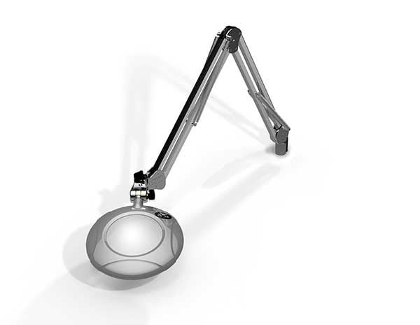 """Green-Lite® - 5"""" Round LED Magnifier - 43"""" Reach - Table Edge Clamp-976"""