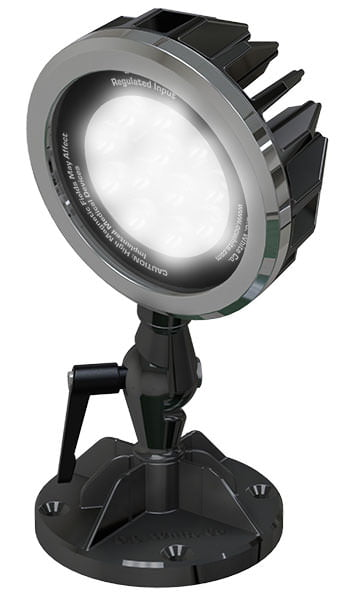 """24v DC LED Spot-Lite Machine Light - 4"""" Diameter Shade with Adjustable/Locking 3-Axis Swivel - Mounting Foot Includes 4 Countersunk Screw Holes and (1) High Strength 3"""" Neodymium Magnet"""