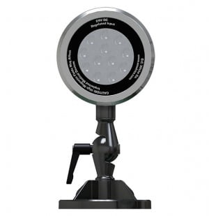 "100-240v (50/60hz) LED Spot-Lite Machine Light - 4"" Diameter Shade with Adjustable/Locking 3-Axis Swivel - Mounting Foot Includes 4 Countersunk Screw Holes and (1) High Strength 3"" Neodymium Magnet"