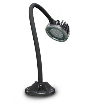"100-240v (50/60hz) LED Spot-Lite Machine Light - 4"" Diameter Shade with Adjustable/Locking 3-Axis Swivel - 18"" Gooseneck Arm - Mounting Foot Includes 4 Countersunk Screw Holes and (1) High Strength 3"" Neodymium Magnet"
