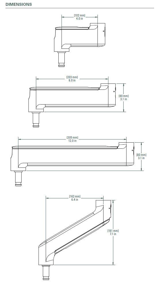 Arm dimensions for expandable microphone and monitor support systems