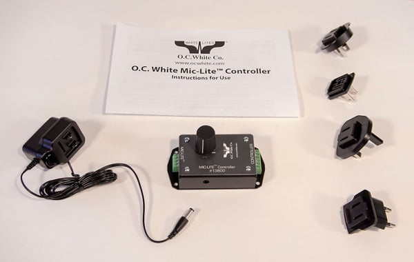 Controller Box for Mic-Lite™ LED On Air Light; Used to control RED/WHITE color setting as well as dimming for 13600 and 13700