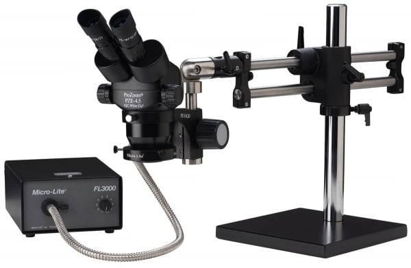 ProZoom® 4.5 Extended Working Distance Binocular Microscope - Ball Bearing Base - Annular Ring Light - ESD Safe