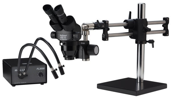 ProZoom® 4.5 Extended Working Distance Binocular Microscope - Ball Bearing Base - Dual Gooseneck Light - ESD Safe