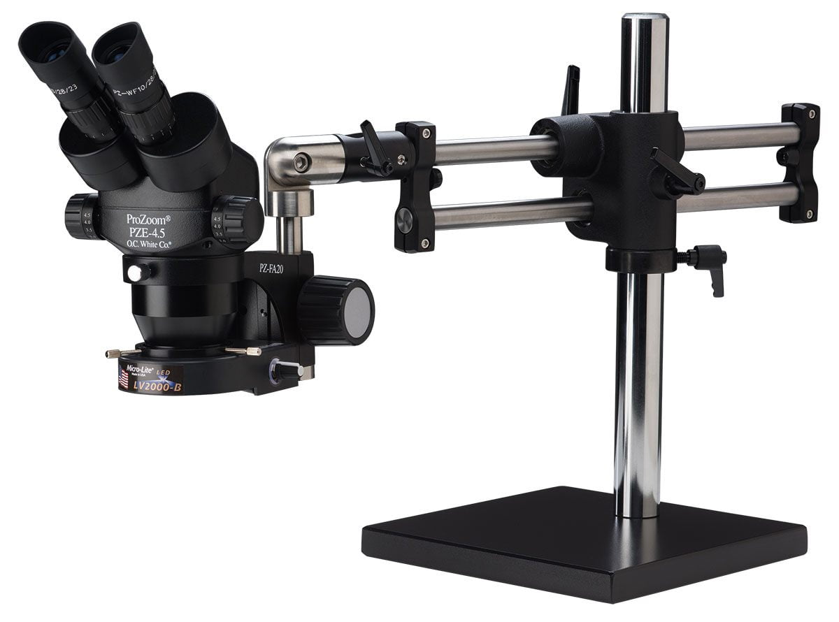 ProZoom® 4.5 Extended Working Distance Binocular Microscope - Ball Bearing Base - LED Ring Light - ESD Safe
