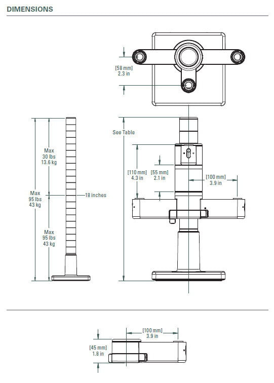 Diagram for our 4-Way Clamp and Vertical Riser Assembly for our Scalable Monitor and Mic Support System