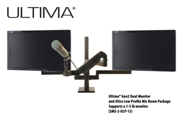 Two monitors, One Microphone, Scalable Monitor Support System