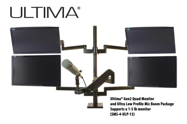 Four monitors, One Microphone, Scalable Monitor Support System