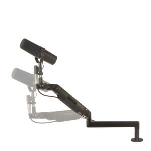 "Ultra Low Profile mic arm with 3"" riser base mount"